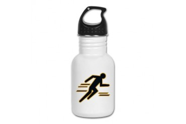 Black and Gold Track Running Kid's Water Bottle by CafePress