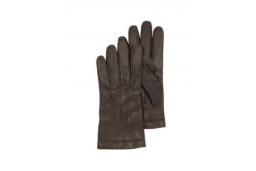 Dark Brown Leather Men's Gloves w/Cashmere Lining