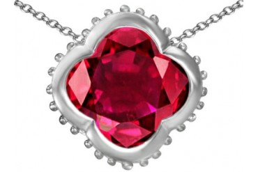 Star K Clover Pendant 12mm Clover Created Ruby