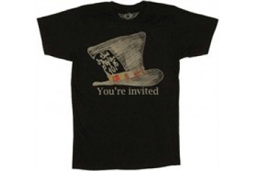 Alice in Wonderland Mad Hatter You're Invited T-Shirt Sheer