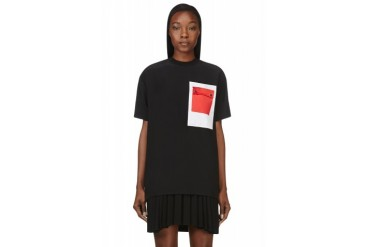 Givenchy Black Silk Crepe Contrast pocket T shirt