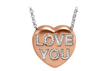 Valentine Diamond Love You Heart Necklace Rose Gold on 925 Sterling Silver