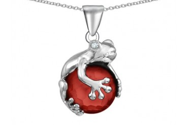 Star K Frog Pendant 10mm Simulated Red Coral Ball