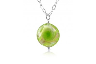Vortice - Lime Murano Glass Swirling Bead Sterling Silver Necklace