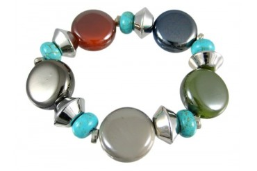 Lovely Glass amp Turquoise Bead Stretch Bracelet