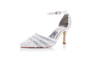 Women's Satin Stiletto Heel Closed Toe Pumps With Buckle Rhinestone Ruffles (047048516)