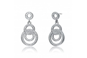 C.Z. Sterling Silver Rhodium Plated Outlined Circle Drop Earrings