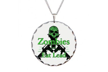 Lead eating zombies grn. Pop culture Necklace Circle Charm by CafePress