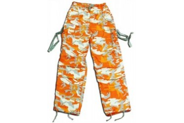 Kids Unisex Basic UFO Pants (Orange Camo)
