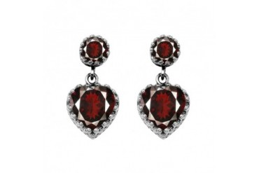 Striking Red Garnet Heart Stud Earrings Sterling Silver