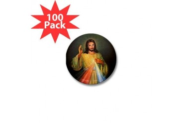 Divine Mercy 1 Peace Mini Button 100 pack by CafePress