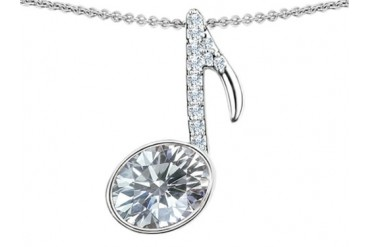 Star K Musical Note Pendant White Topaz Oval 11x9mm