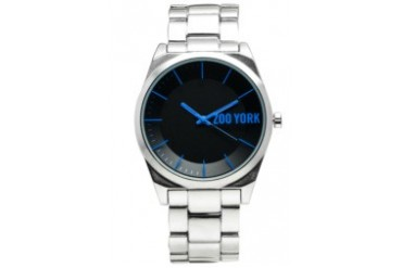 Gun Metal Watch with Black and Blue Dial