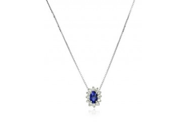 Diamond and Sapphire Drop 18K Gold Necklace