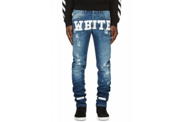 Off white Blue And White Printed Jeans