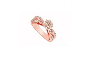 Pink Morganite with Diamonds Split Shank Engagement Ring 14K Rose Gold Top