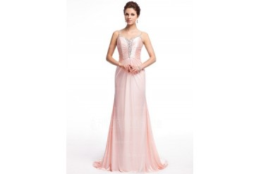 A-Line/Princess Sweetheart Sweep Train Charmeuse Evening Dress With Ruffle Beading (017026233)
