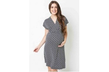 Gathered Loop Shawl Neck Dress