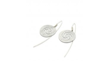 Silver Etched Crop Circle Round Drop Earrings