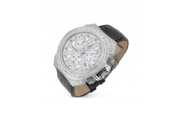 Giogio' Black Croco-Stamped Calf Leather Band Diamond Chronograph Watch