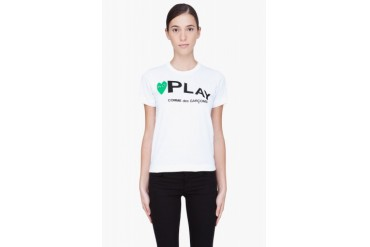Comme Des Garons Play White And Green Logo T shirt