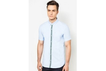 EZRA by ZALORA Grosgrain Tape And Contrast Slit Bar Tag Detailing Shirt