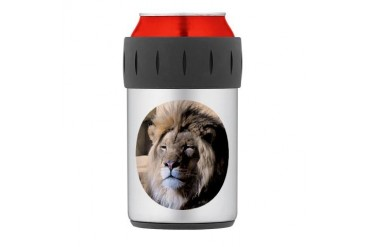 Round Lion Portrait Thermos Can Cooler Lion Thermosreg; Can Cooler by CafePress