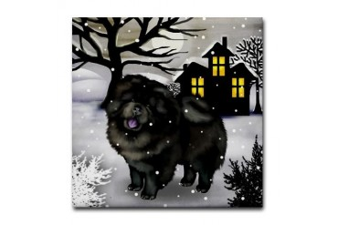 CHOW CHOW DOG SNOWY DAY Tile Coaster by CafePress