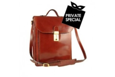 Cognac Leather Vertical Briefcase