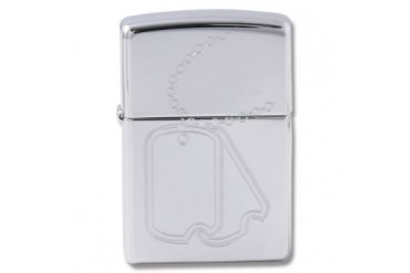 "Zippo ""Dog Tags"" Lighter with High Polish Chrome Finish"