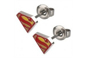 DC Comics Superman Die Cut Logo Stainless Steel Stud Earrings