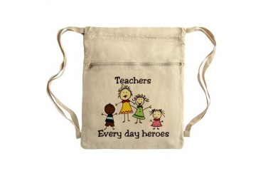 Every Day Heroes Sack Pack Teacher Cinch Sack by CafePress