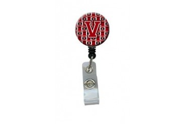 Letter V Football Red, Black and White Retractable Badge Reel