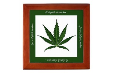 A stylish Stash Box - Cannabis Leaf design Funny Keepsake Box by CafePress