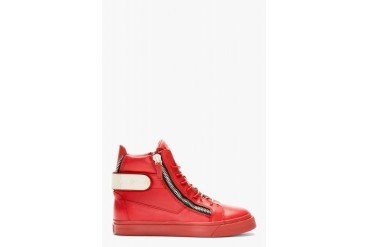 Giuseppe Zanotti Red Leather Metal Accent High top Sneakers
