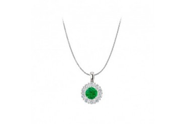 Brilliant Cut Natural Diamond and Emerald Halo Pendant