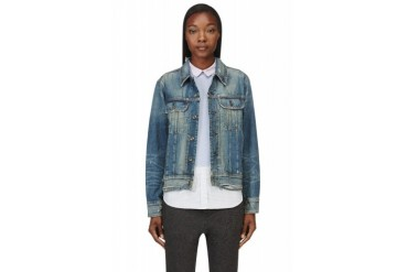 Rag And Bone Blue Distressed Boyfriend Denim Jacket