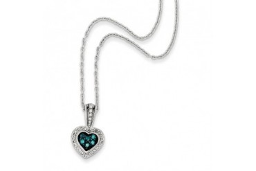 1 4 Ctw Blue amp White Diamond Small Heart Necklace in Sterling Silver