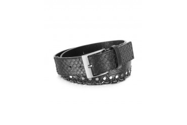Black Python Chain and Studded Belt