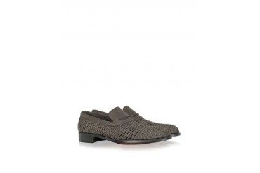 Dark Brown Woven Leather Loafer