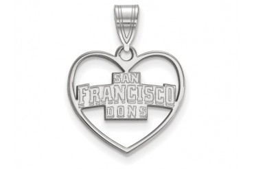 LogoArt Silver University Of San Francisco Pendant Chain Included In Heart