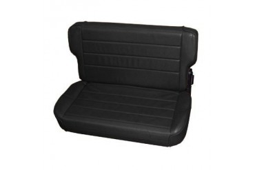 Smittybilt Fold and Tumble Rear Seat in Black Denim Vinyl 41315 Seat
