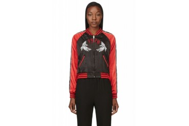 Diesel Red And Black Reversible Satin Absol Bomber Jacket