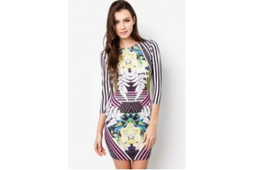 RIVER ISLAND Black Abstract Floral Stripe Bodycon Dress