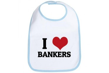 I Love Bankers Occupations Bib by CafePress