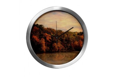 Autumn Reflections 1 Trees Modern Wall Clock by CafePress