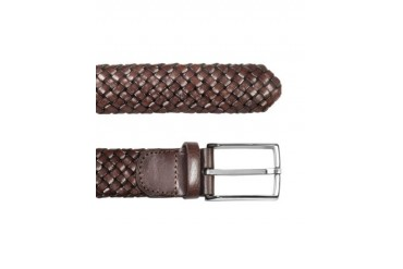 Men's Brown Woven Leather Belt