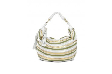Cream Leather Striped Suede Gusset Hobo Bag