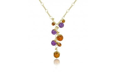 Tulipani - Amethyst and Amber Charms 18K Gold Drop Necklace