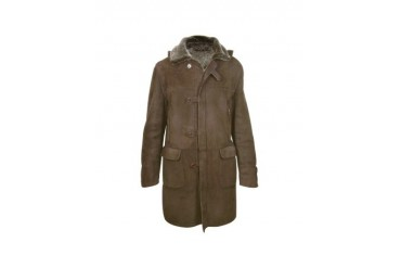 Detachable Hood Men's Dark Brown Shearling Coat